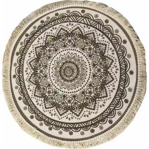 Χαλί Στρογγυλό Κρεμ Με Καφέ με Διάμετρο 120cm AI Decoration 74161