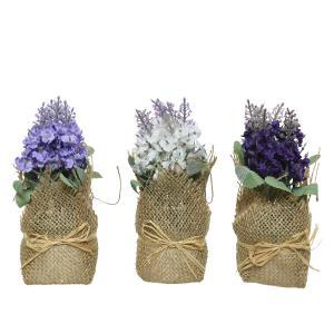 Διακοσμητικά Γλαστρακια με Λουλούδι σε 3 χρώματα Kaemingk 801150