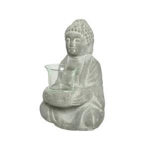Διακοσμητικός Τσιμεντένιος Βούδας με Κηροπήγιο Kaemingk 820231