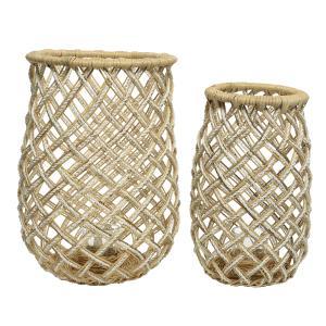 Σετ Διακοσμητικά Φανάρια (με γυαλί) απο Φυσικό Bamboo Kaemingk 830135