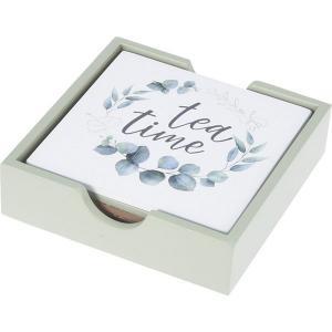 """Σουβέρ Ξύλινο """"Tea Time"""" Σετ 6τεμ Φ11,5cm JK Home Decoration 836060"""