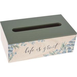 """Κουτί Ξύλινο Για Χαρτομάντηλα """"Life is Great"""" 25x14x9cm JK Home Decoration  836077"""