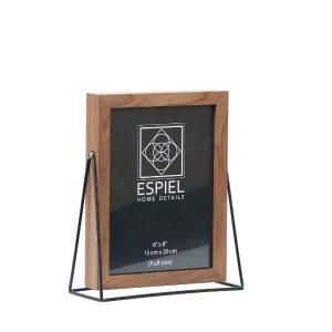 Κορνίζα Ξύλινη Με Μεταλλική Μαύρη Βάση 10x15cm Espiel FAM516
