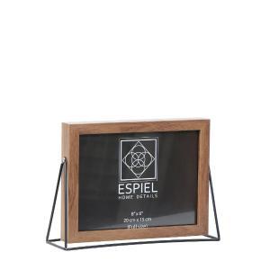 Κορνίζα Ξύλινη Με Μεταλλική Μαύρη Βάση 15x10cm Espiel FAM519