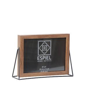 Κορνίζα Ξύλινη Με Μεταλλική Μαύρη Βάση 18x13cm Espiel FAM520