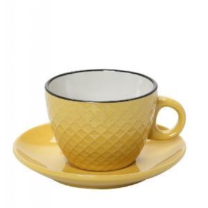 Φλυτζάνι Cookie Delight Cappuccino Με Πιατάκι Κίτρινο-Κρεμ Με Μαύρο Στόμιο 220cc HUN409K6 Espiel