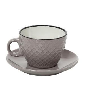 Φλυτζάνι Cookie Delight Cappuccino Με Πιατάκι Γκρι-Κρεμ Με Μαύρο Στόμιο 220cc espiel HUN410K6