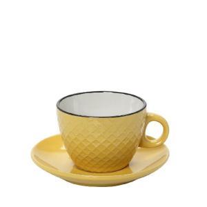 Φλυτζάνι Cookie Delight Cappuccino Με Πιατάκι Κίτρινο-Κρεμ Με Μαύρο Στόμιο 100cc HUN411K6 Espiel
