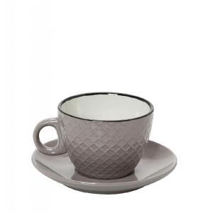 Φλυτζάνι Cookie Delight Cappuccino Με Πιατάκι Γκρι-Κρεμ Με Μαύρο Στόμιο 100cc espiel HUN412K6