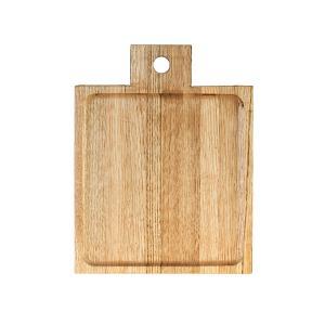 Ξύλινο πιάτο καστανιάς 20×20 σκαμμένο με χερούλι ΚΑΣ-020167 Rozos