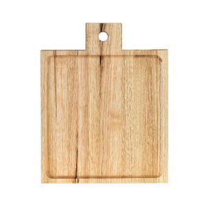 Ξύλινο πιάτο καστανιάς 25×25 σκαμμένο με χερούλι ΚΑΣ-020168 Rozos