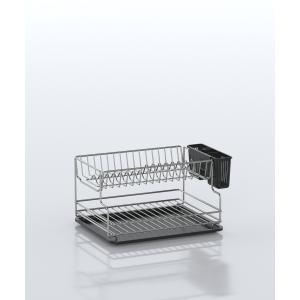 Ανοξείδωτη Διώροφη Πιατοθήκη 18/10 Με Πλαστικό Δίσκο 30x42x21cm Tekno tel KB005SS