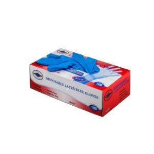 Γάντια Λάτεξ με Πούδρα Μπλε Αντοχής 100τεμ/Πακέτο Θαλασσινός