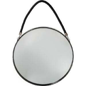 Καθρέπτης Τοίχου Στρογγυλός Μαύρος Μεταλλικός Με Σχοινί Φ30cm Espiel SEK101