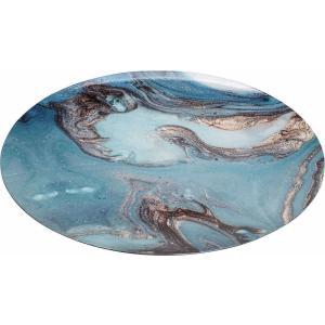 Διακοσμητικός Δίσκος Σερβιρίσμαστος Στρογγυλός Γαλάζιος Πλαστικός Φ39.5cm Espiel SIK102K6