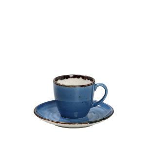 Φλιτζάνι & Πιατάκι Εσπρέσσο 90ML ''Terra Blue '' 12x6εκ. Espiel TLF112K6