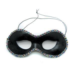 Αποκριάτικη μάσκα μαύρη με στρας