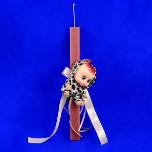 Λαμπάδα πλακέ στολισμένη ρόζ με λούτρινο