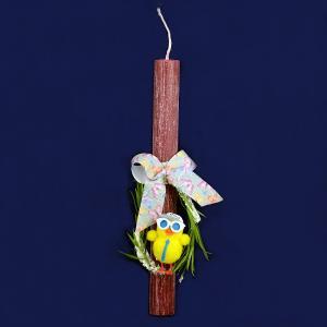 Λαμπάδα στογγυλή άγρια στολισμένη ρόζ με κοτοπουλάκι κίτρινο