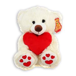 Λούτρινο αρκουδάκι καθιστό λευκό 25 εκατοστά