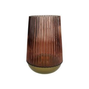 Φανάρι από γυαλί & μέταλλο σε μπορντώ/χρυσό, 25cm