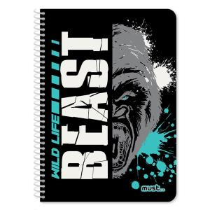 Τετράδιο σπιράλ 2 θέματα 60 φύλλα Beast