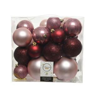 Χριστουγεννιάτικες μπάλες σετ 26 τεμάχιων αποχρώσεις κόκκινου ροζ χρώματος