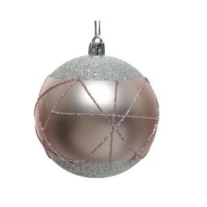 Χριστουγεννιάτικη μπάλα στολίδι με γραμμές glitter ροζ απόχρωση