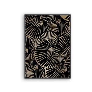 Πίνακας Φύλλα σε μαύρο/χρυσό,κορνίζα