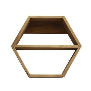 Ραφιέρα με ξύλινο εξάγωνο πλαίσιο,51x45cm
