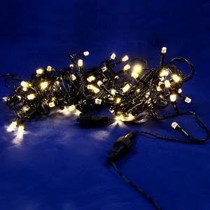 Χριστουγεννιάτικα λαμπάκια 100 λευκά επεκτεινόμενα με πράσινο καλώδιο