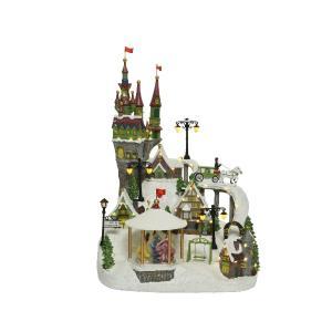 Χριστουγεννιάτικο διακοσμητικό κάστρο με φωτισμό και μηχανισμό