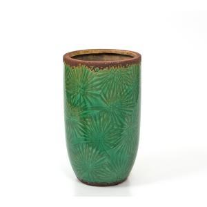 Κεραμικό βάζο, σχ.φύλλα φοίνικα, σκ.πράσινο,25,5 εκατοστά