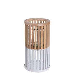 Ξύλινο κυλινδρικό φανάρι φυσικό/λευκό, 16x30 εκατοστά
