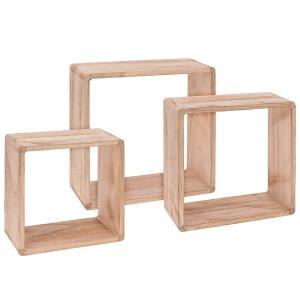 Ξύλινα τετράγωνα ράφια σετ 3 τεμαχίων