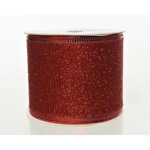 Χριστουγεννιάτικη διακοσμητική κορδέλα πλέγμα ταινία με glitter κόκκινη