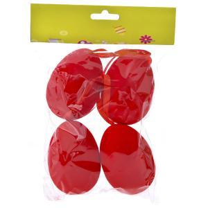 Αυγά κόκκινα βελούδινα σετ 4 τεμαχίων
