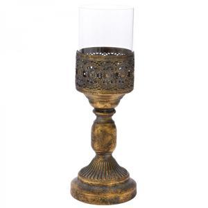 Κηροπήγιο χρυσό με γυαλί 35 εκατοστά
