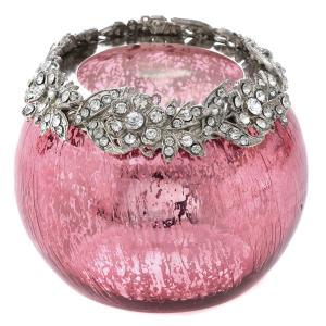 Κηροπήγιο γυάλινο ρόζ με διαμαντάκια στο γείσο