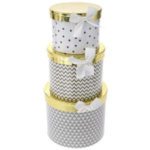 Χάρτινό στρογγυλό κουτί σετ 3 τεμαχίων με χρυσό καπάκι