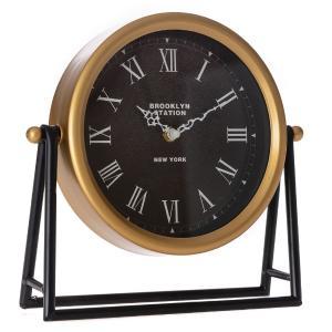 Επιτραπέζιο ρολόι μεταλικό χρυσό - μαύρο