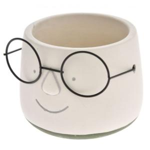 Γκρί κεραμικό κασπώ πρόσωπο με γυαλιά 13 εκατοστά