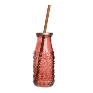 Γυάλινο ποτήρι με καλαμάκι