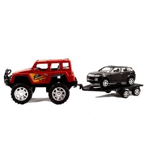 Τζιπάκι κόκκινο με τρέυλερ με μαύρο αυτοκινητάκι αυτοκούρδιστο