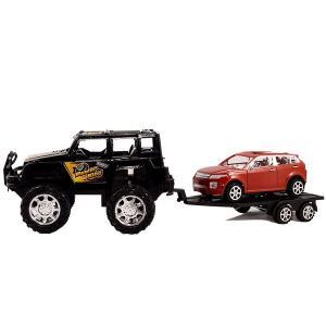 Τζιπάκι μαύρο με τρέυλερ με κόκκινο αυτοκινητάκι αυτοκούρδιστο