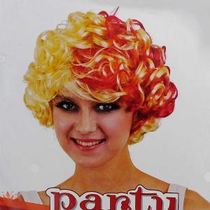 Αποκριάτικη περούκα μπούκλες ξανθό-κόκκινο