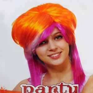 Αποκριάτικη περούκα πορτοκαλί - ρόζ