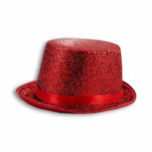 Αποκριάτικο καπέλο κόκκινο glitter