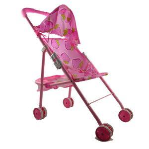 Καροτσάκι κούκλας ροζ μεταλικό σχέδιο φράουλες