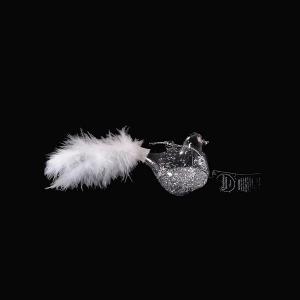 Γυάλινο πουλί με glitter σε διάφορα χρώματα και πούπουλα